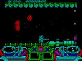 Dark Fusion ZX Spectrum Ignoring the red ships and moving to the right (they character cannot move left) there's a purple gun emplacement that needs taking care of