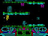 Dark Fusion ZX Spectrum More enemies and overhead guns. The yellow guy always shoots one way so once past him he's no longer a threat