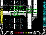 Metropolis ZX Spectrum The game's menu is displayed over a rolling demo of the game
