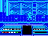 Dream Warrior ZX Spectrum A force field blocks the way to the right. The blob like things on the floor can be picked up when walked on.