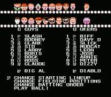 Dusty Diamond's All-Star Softball NES Roster Menu
