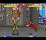 Final Fight 3 SNES Haggar presses baddie, Guy gets knocked down