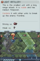 Tom Clancy's EndWar Nintendo DS Help screen shows information about different objects in the game
