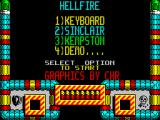 Hellfire Attack ZX Spectrum Main menu