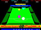 American 3D Pool ZX Spectrum The demonstration has been interrupted, which is why the balls are out of position, to redefine the  action keys. The game does not echo back the chosen keys