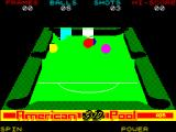 American 3D Pool ZX Spectrum When the FIRE key is released the cue ball whizzes off and the view-point changes