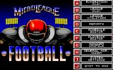 MicroLeague Football 2 DOS Title and Main Menu