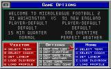 MicroLeague Football 2 DOS Adjusting Game Options before the match