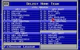 MicroLeague Football 2 DOS Selecting home team from 1991 Season