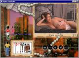 Digital Strip Poker featuring Carrie Stevens Windows Carrie raises five without shirt (White-blue outfit round 3)