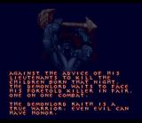 WeaponLord SNES Storyline is displayed as text on screenshots such as these