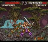 WeaponLord SNES Talazia and Korr are engaged in close combat atop a giant spider's web