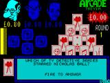 Arcade Trivia Quiz ZX Spectrum Its a film question. The player must press the FIRE button to answer