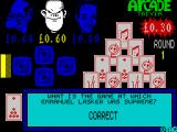 Arcade Trivia Quiz ZX Spectrum The bonus question has been answered correctly - doesn't he look really smug?