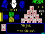 Arcade Trivia Quiz ZX Spectrum The options are to bank the available cash - £0.30, or to double it.
