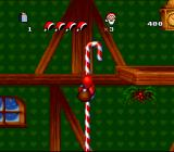 Daze Before Christmas SNES Climbing a candy cane