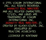 Nickelodeon: Aaahh!!! Real Monsters SNES Production Credits