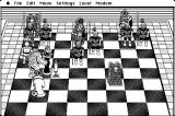 Battle Chess Macintosh Black Queen takes out my Rook with a jackhammer!