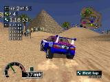 Rally Cross PlayStation An Egyptian pyramid is in the background.