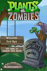 Plants vs. Zombies Nintendo DS Menu screen.