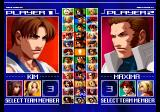 The King of Fighters 2003 PlayStation 2 Character selection.
