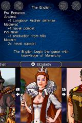 Sid Meier's Civilization: Revolution Nintendo DS Selecting a civilization.