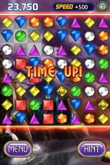 Bejeweled 2: Deluxe iPhone Any special gems still on the board will be added to your total score, including what happens after they burst.