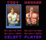 Final Fight SNES Choose your fighter. As you can see, Guy is missing