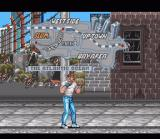 Final Fight SNES Start of the game with map of the levels visible