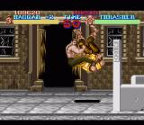 Final Fight SNES Haggar performs a pile driver on the first boss, Trasher