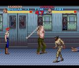 Final Fight SNES Every now and then you can pick up a weapon. Like this pipe for instance