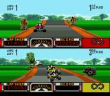 Road Riot 4WD SNES The player's vehicle is on the top half of the screen, while the bottom half of the screen show the opponent vehicles