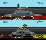 Road Riot 4WD SNES A taxi cab crossing at the intersection