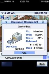 Game Dev Story iPhone The Game-Box, more a box than a cube.