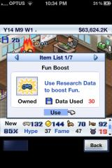 Game Dev Story iPhone Boosts can be purchased to increase your stats in quick time.