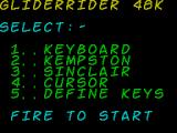 Glider Rider ZX Spectrum Main menu