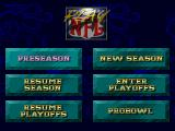 NFL Quarterback Club SEGA 32X Play Main Menu