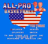 All-Pro Basketball NES Title Screen