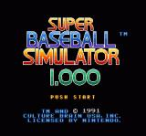 Super Baseball Simulator 1.000 SNES Title Screen