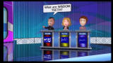 Jeopardy! Wii Characters give their answer through speech bubbles.
