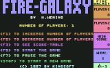 Fire Galaxy Commodore 64 Main menu