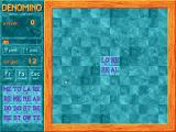 Denomino DOS Game type 1 - a solo game. The available tiles are in the lower right and the move timer is just above it. The panel on the left also shows that to complete the game, 12 tiles must be placed.