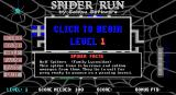 Spider Run DOS The game's menu follows the developers company logo and a reminder that the game is shareware. A different 'spider fact' is displayed each time the player returns here