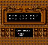 Demon Sword NES Inputting a code at the game over screen brings up a continue screen