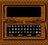 Demon Sword NES Entering a code at the title screen brings up a password screen