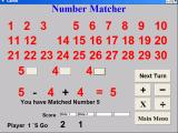 Master Maths Windows A two player game in progress. This player was given the numbers 5, 4, & 4 and has made the sum 5-4+4. The number 5 will therefore be removed from play for the next player