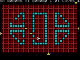 Transversion ZX Spectrum A little way into the game. Several pods have been wiped, the aliens have moved position and have commenced firing