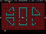 Transversion ZX Spectrum Tracking right to left across the grid. There's a missile directly behind the ship. missiles & ship travel at the same speed so a sharp turn is called for here