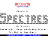 Spectres ZX Spectrum This screen is displayed after the game has loaded