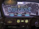 Mystery Case Files: Dire Grove Macintosh Title / main menu (the menu will flash at random an for just a second a woman appears in rear view mirror)